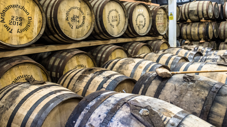Glenbeg, Ardnamurchan  Scotland - May 26 2017 : Ardnamurchan distillery is producing whisky since 2014 and actually expanding their warehouses