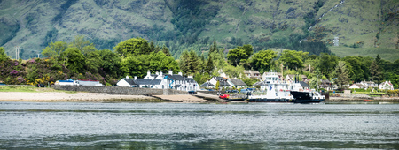 Onich, Lochaber  Scotland - May 26 2017 : The Corran ferry is connection Ardnamurchan with Lochaber, aerial Editorial