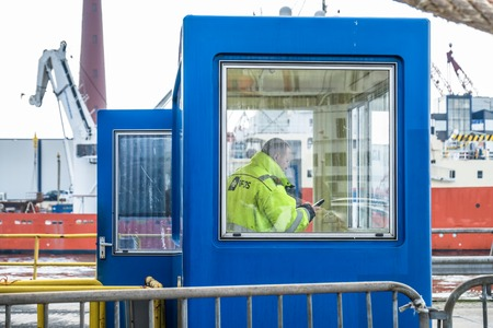 ijmuiden: Ijmuiden  Netherland - May 12 2017 : Worker getting the ferry ready for the passengers