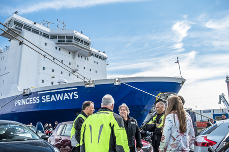 Ijmuiden, Netherlands - May 14 2017: Passengers are waiting to get on the Princess of seaways ferry