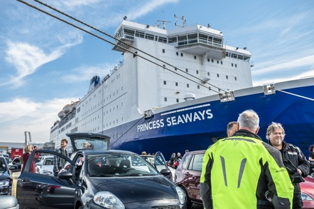 ijmuiden: Ijmuiden, Netherlands - May 14 2017: Passengers are waiting to get on the Princess of seaways ferry