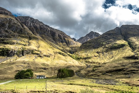 Amazing scottish landscape at Achnambeithach in Glencoe, Scottish Highlands