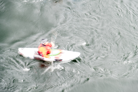 rival: Blurred slow shutter speed shot of a canoe driver with copy space Stock Photo