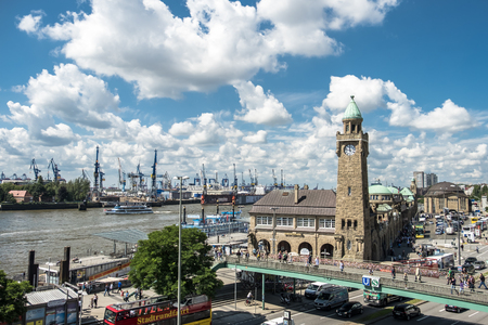 Hamburg  Germany - July 14, 2017: The St. Pauli Piers, German: St. Pauli Landungsbrucken, are one of Hamburgs major tourist attractions