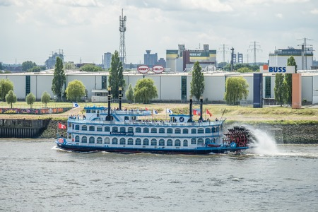 citytrip: Hamburg  Germany - July 14, 2017: Passengers enjoying their harbour tour with the Louisiana star Editorial