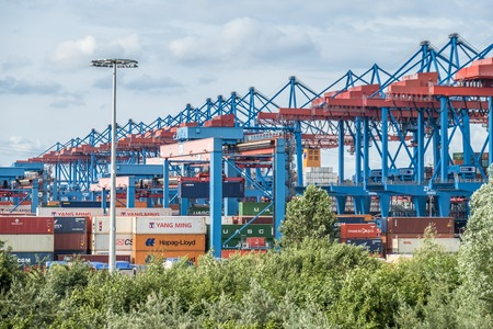 Hamburg  Germany - July 14, 2017: The highly automated container terminal in Altenwerder is one of the most modern and innovative of the world