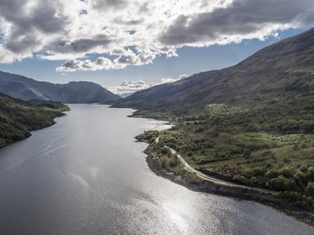 highlander: Aerial view of Loch Leven towards Glencoe, Lochaber
