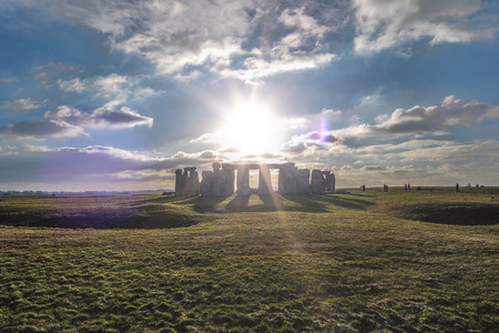 Stonehenge against the sun, Wiltshire, England