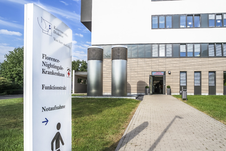 Duesseldorf  Germany - September 04 2017 : The new buildings of the Florence Nightingale hospital will be finished in autumn 2017