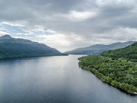Aerial view of the bonnie banks of Loch Lomond, Scotland