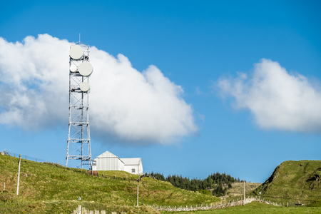 Oban  Scotland - May 16 2017 : The united kingdom still uses flat parabola antennas in rural areas