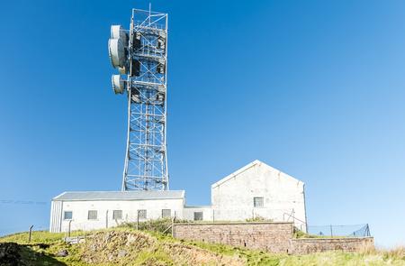 transmit: Oban  Scotland - May 16 2017 : The united kingdom still uses flat parabola antennas in rural areas
