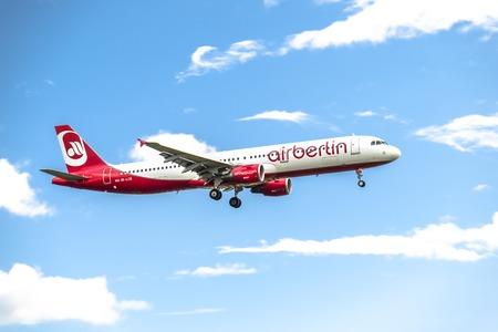 Dusseldorf  Germany - October 05 2017: Airberlin Niki Airbus A321 landing at Dusseldorf Airport Editorial