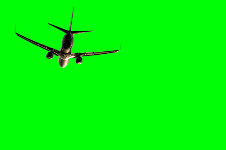 Isolated plane with green background