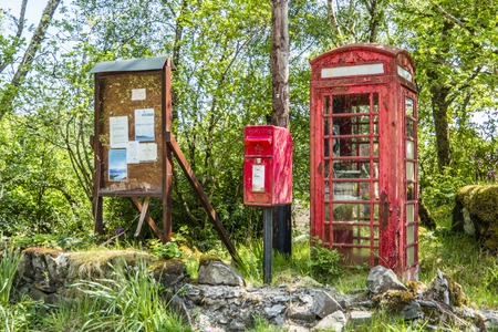 Telephone booth and letter box in the wilderness, Scotland