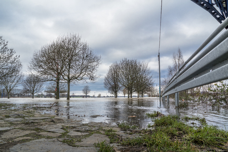 The river Rhine is flooding the city of Duisburg, Germany Reklamní fotografie