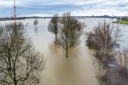 The river Rhine is flooding the city of Duisburg, Germany Stock Photo