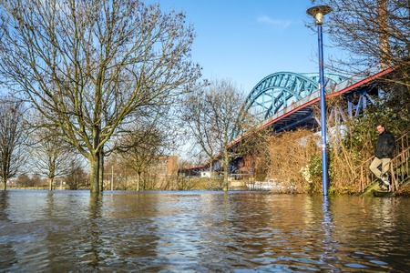 Duisburg  Germany - January 08 2017 : The river Rhine is flooding the Muehlenweide