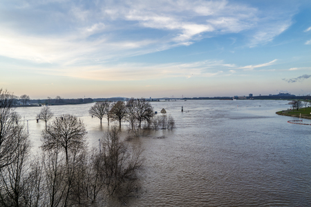 The river Rhine is flooding the Muehlenweide of the city of Duisburg