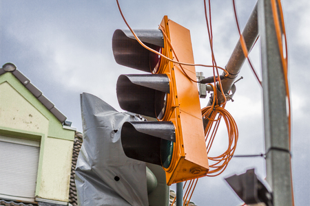 Temporary traffic lights destroyed by the storm Friederike at the street crossing Schonnebeckhoefe, Hallo street and Saatbruch Street