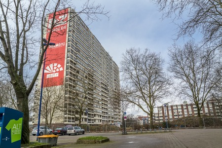 Duisburg / Germany - January 26 2018 : The rotten skyscraper in Duisburg-Hochheide will be blown up in 2018