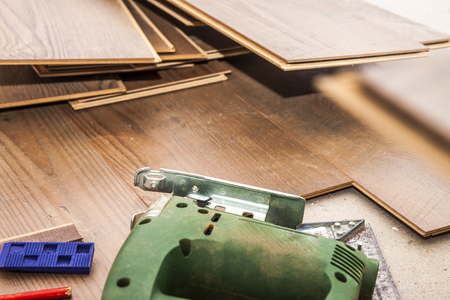 Laminate and tools ready to be layed Stock Photo