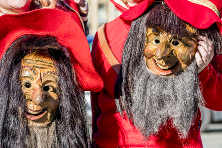 Close-up of two traditional Fasching ,carnical, masks in Germany Stock Photo
