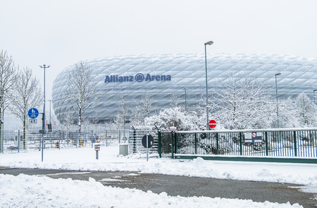 Munich / Germany - February 18 2018 : The Allianz Arena is covered with snow after the snow storm