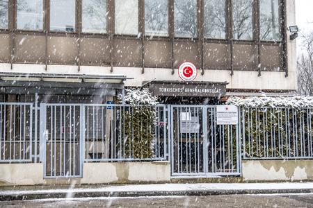 Munich  Germany - February 17 2018 : The consulate general of Turkey in the snow storm Redakční