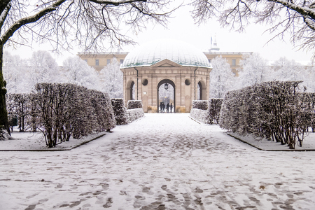 Beautiful Diana temple ,Dianatempel, in central Munichs Hofgarten in the winter in Munich, Bavaria, Germany Imagens