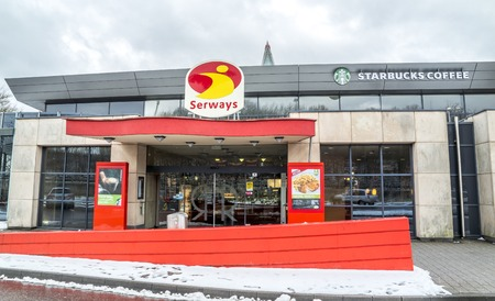 Fernthal / Germany - February 11 2018 : Snow is falling at the motorway restaurant