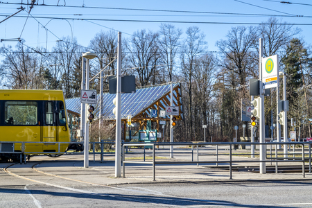 Stuttgart  Germany - February 12 2018 : The train station Ruhbank is the gate to television tower
