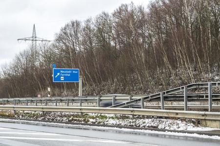 Typical German Motorway exit. Translation: Neustadt - Wied Fernthal