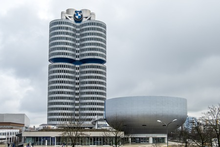 Munich / Germany - February 15 2018 : The BMW headquarters are located in the city of Munich