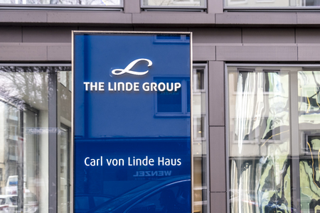 Munich / Germany - February 16 2018 : The Linde Group is a world leading supplier of industrial, process and speciality gases and is one of the most profitable engineering companies