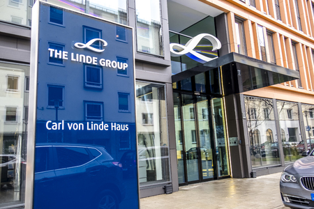 Munich  Germany - February 16 2018 : The Linde Group is a world leading supplier of industrial, process and speciality gases and is one of the most profitable engineering companies