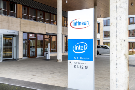 Neubiberg  Germany - February 16 2018 : Infineon is controlling their business from their headquarter building close to Munich Editorial