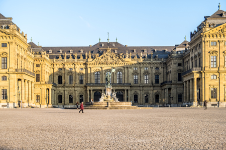Wuerzburg / Germany - February 18 2018 : Front view of the royal residence palace in Wuerzburg Editoriali