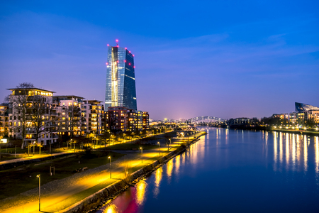 The skyline of Frankfurt, Germany, with the European Central Bank tower at night