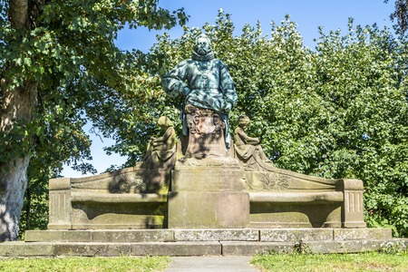 Steinfurt  Germany - June 23 2017 : The count Arnold monument is standing close to the watermill