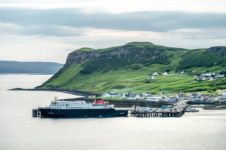 View of the town Uig with its harbour connection to the outer hebrides