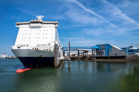 Rotterdam / Netherlands - April 19 2018 : P & O Ferry preparing to go to Hull