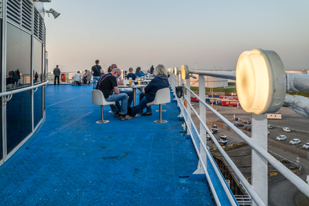Rotterdam / Netherlands - April 19 2018 : Passengers enjoying their journey on the P & O to Hull