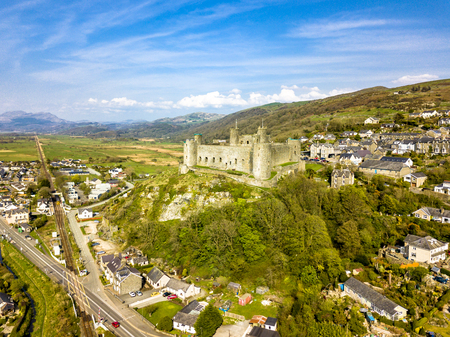 Aerial view of the skyline of Harlech with its 12th century castle, Wales, United Kingdom
