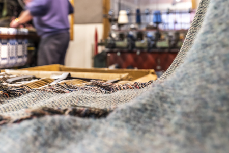 Historic woolen mill production background with Tweed. 스톡 콘텐츠