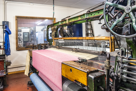 Trefriw / Wales - April 24 2018 : Tradtional woolen mill production in Wales - United Kingdom