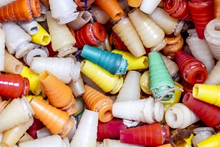 Huge amount of plastic waste cones and rubbish