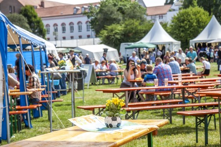 Xanten  Germany - June 16 2018 : People eating and drinking at the festival Editorial