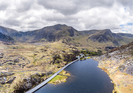 Aerial view of Ogwen valley with Llyn Ogwen in Snowdonia, Gwynedd, North Wales, UK - Great Britain, Europe