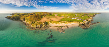 Aerial view of Church Bay in Anglesey North Wales UK during sunset. 写真素材